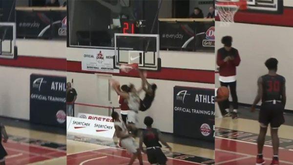 14 Year-Old Canadian Basketball Phenom Elijah Fisher Destroys Defender