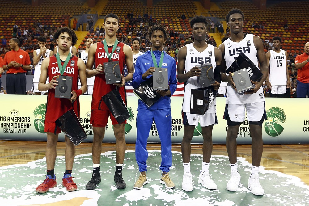 2019 Fiba 16 Americas All Star Team Canadians Caleb Houstan Ryan Nembhard