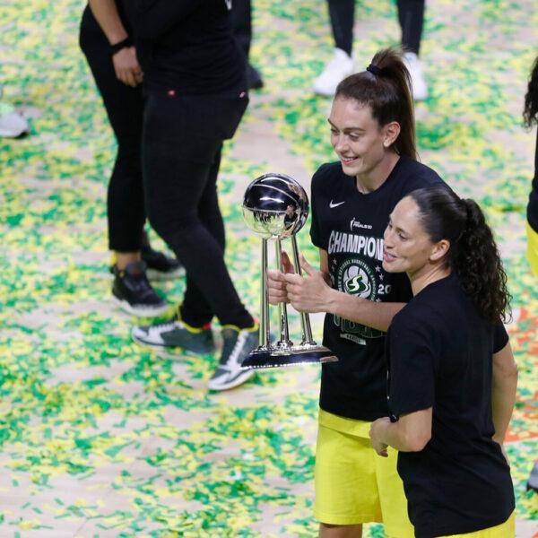 Breanna Stewart and Sue Bird celebrate Seattle Storm 2020 WNBA Champions