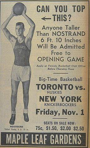 Advertisement for toronto huskies vs new york knickerbockers nov 1 1946