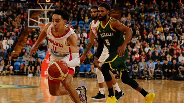 Andrew Nembhard Drives Past Patty Mills Canada Beats Australia 2019 Fiba World Cup Warm Up Series