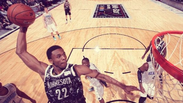 Andrew Wiggins cock-back dunk NBA Rising Stars Game