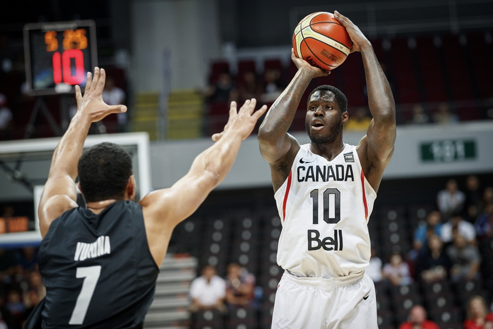 Canadian forward Anthony Bennett takes a jump-shot during the 2016 FIBA Olympic Qualifying Tournament in Manilla, Philippines