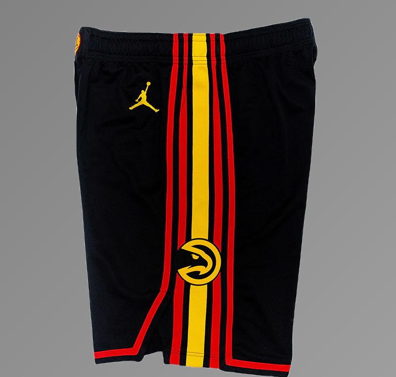 Atlanta Hawks 2021 Full Black Shorts Side