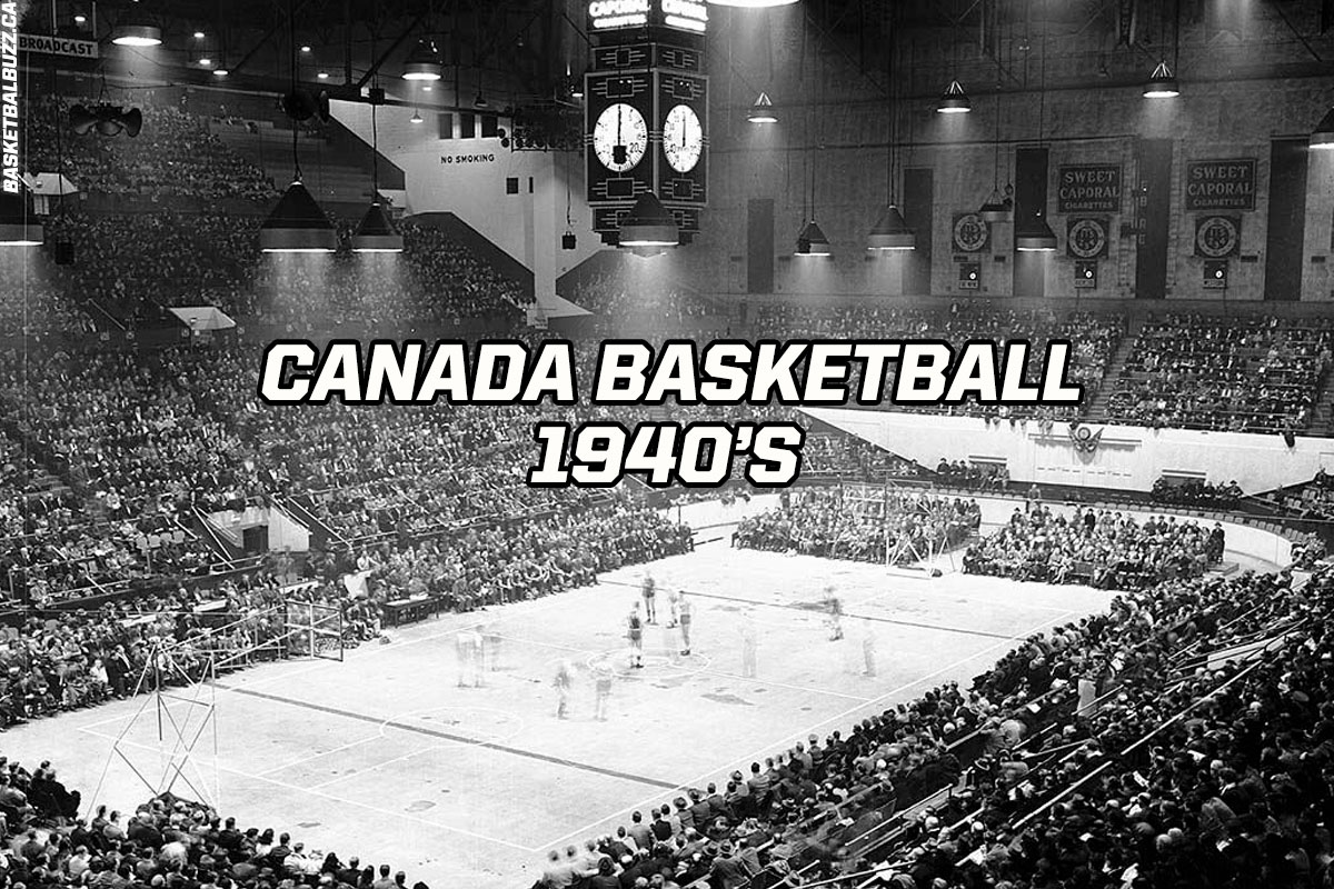 Canada basketball in the 1940's - Exclusive image of the first ever basketball game at the historic Maple Leaf Gardens, January 16, 1946