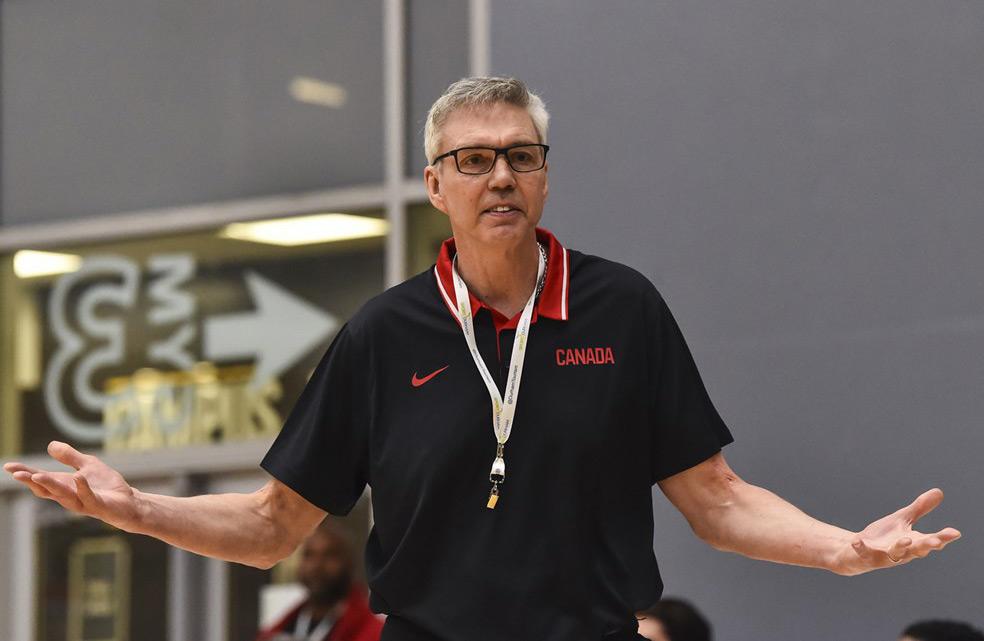 Canada Basketball Associate Head Coach Gordie Herbert Contesting Call