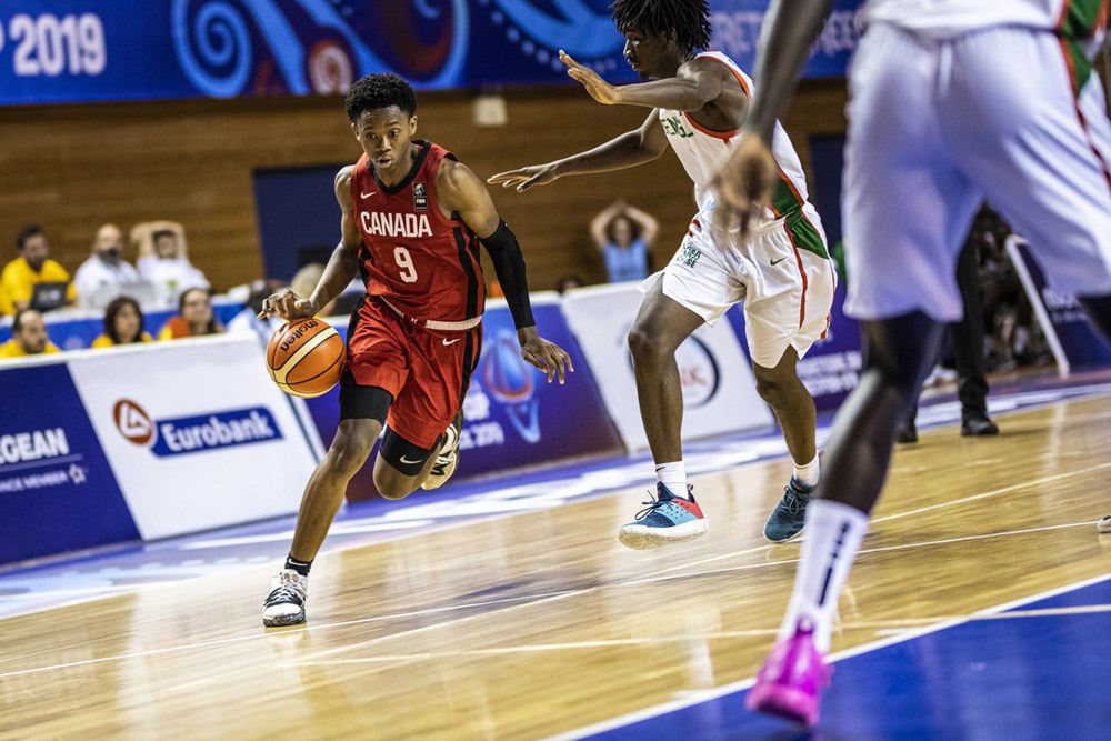 Canadian Basketball Guard Josh Primo Drives Past Senegal 2019 Fiba U19 Basketball World Cup