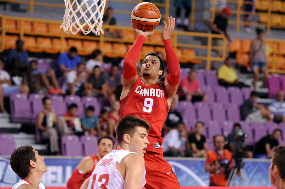 canadian basketball player dillon brooks jumper ivica zubac 2015 fiba u19 world championships