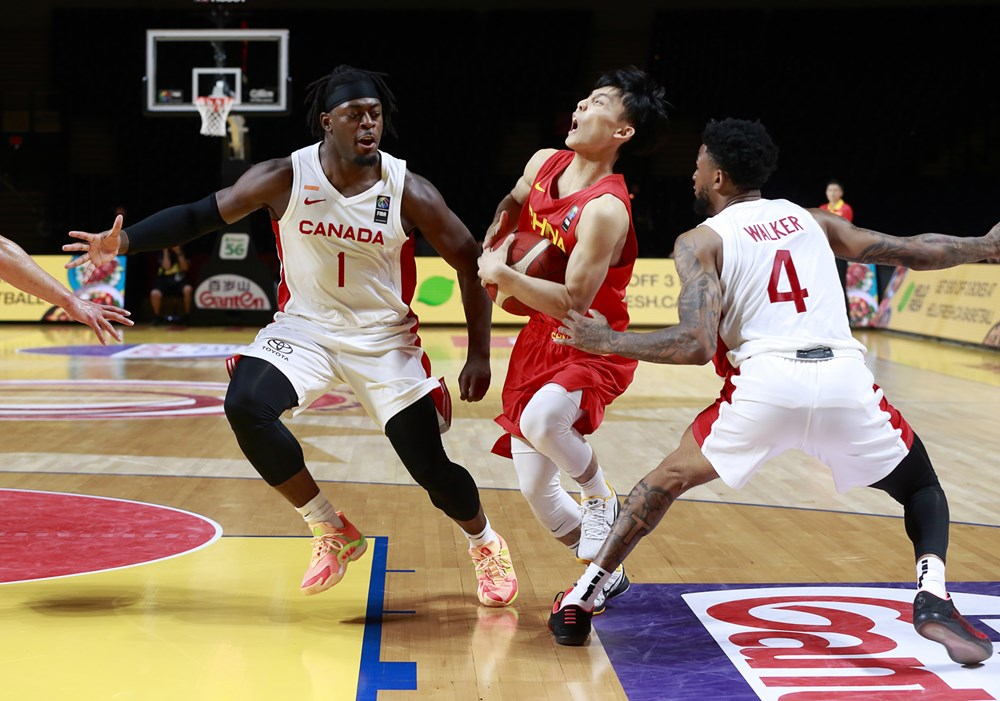 Canadian basketball players luguentz dort nickeil alexander walker clog up the lane as team canada overwhelms china in lopsided 109 79 win at 2020 fiba olympic qualifying tournament