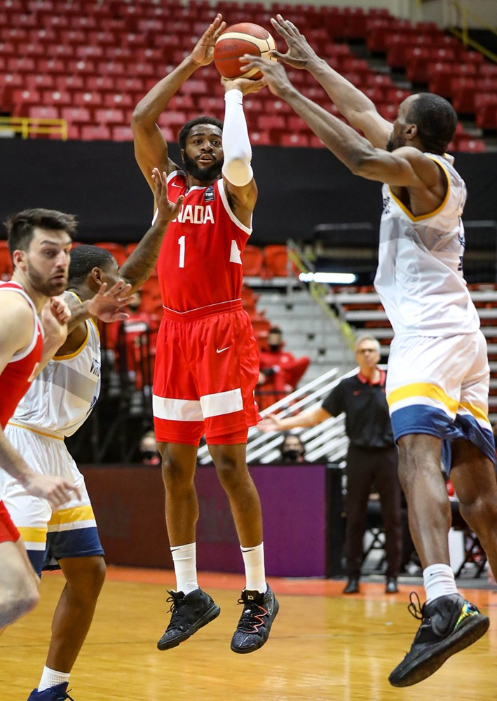 Canadian Guard Aaron Best Knocks Down One Of His Five Triples Against The Us Virgin Islands