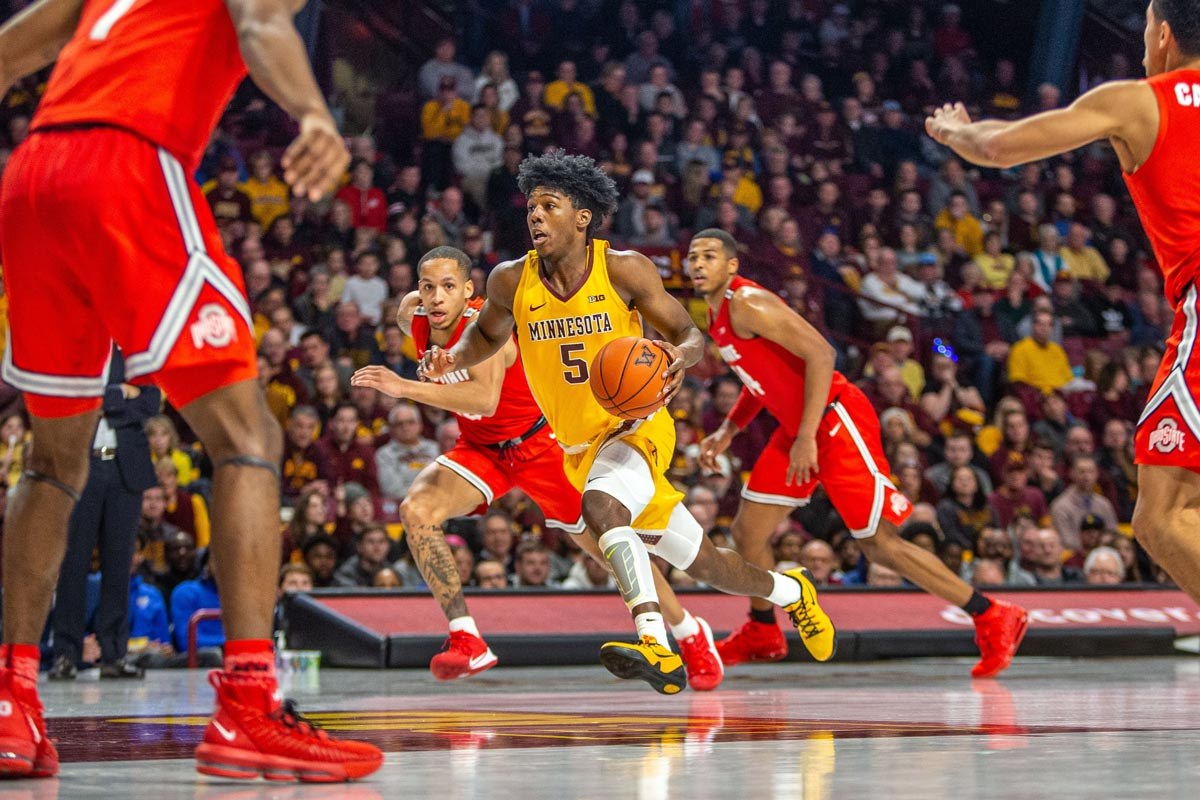 canadian marcus carr career high 35 points helps minnesota upses no 3 ohio state