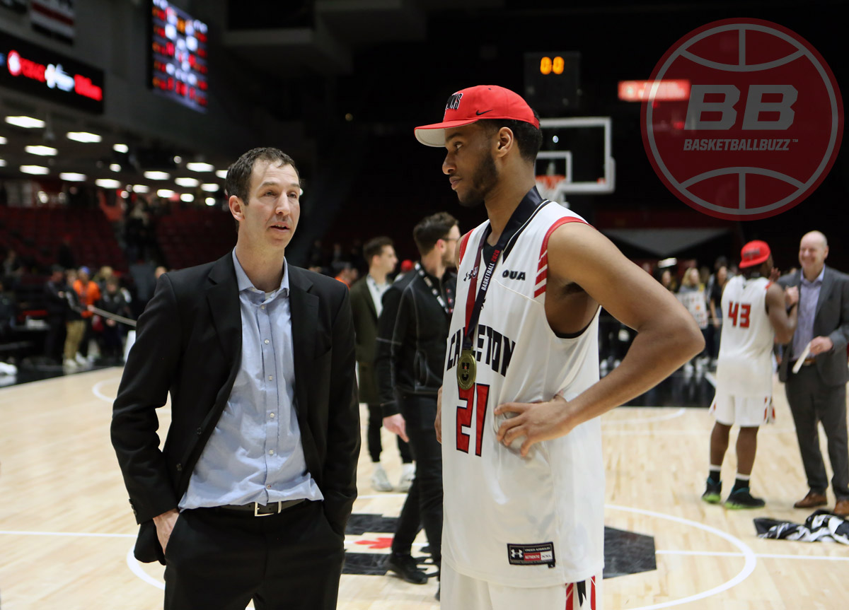carleton ravens assistant rob smart and forward biniam ghebrekidan 2020 usports final 8 championship