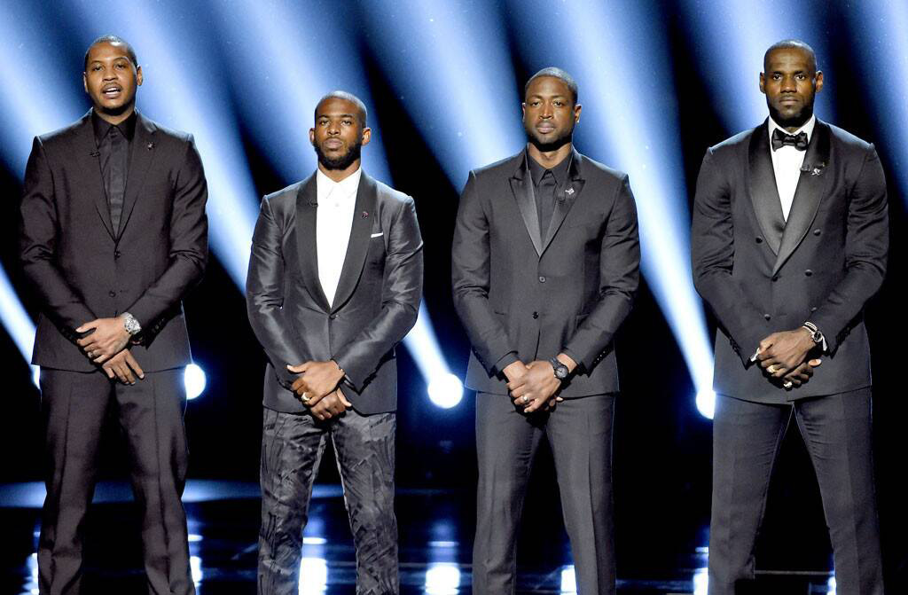 Carmelo Anthony Chris Paul Dwayne Wade Lebron James 2016 Espys Awards Asking For Social Change