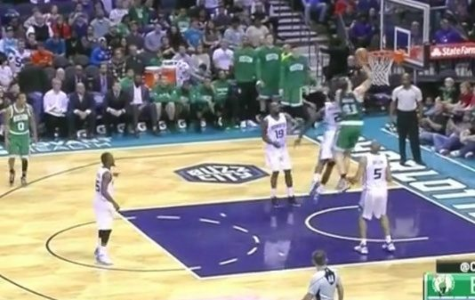 Celtics Kelly Olynyk shows bounce-ability with empathic putback dunk