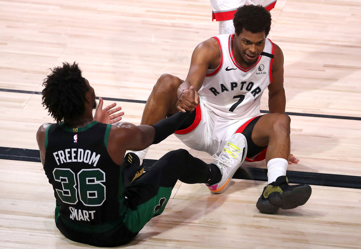 Celtics Marcus Smart Raptors Kyle Lowry Help Each Other Off The Floor During Game 7 Of 2020 Nba Playoffs
