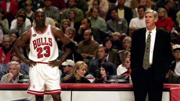 Chicago Bulls Michael Jordan Standing Side By Side Utah Jazz Coach Jerry Sloan