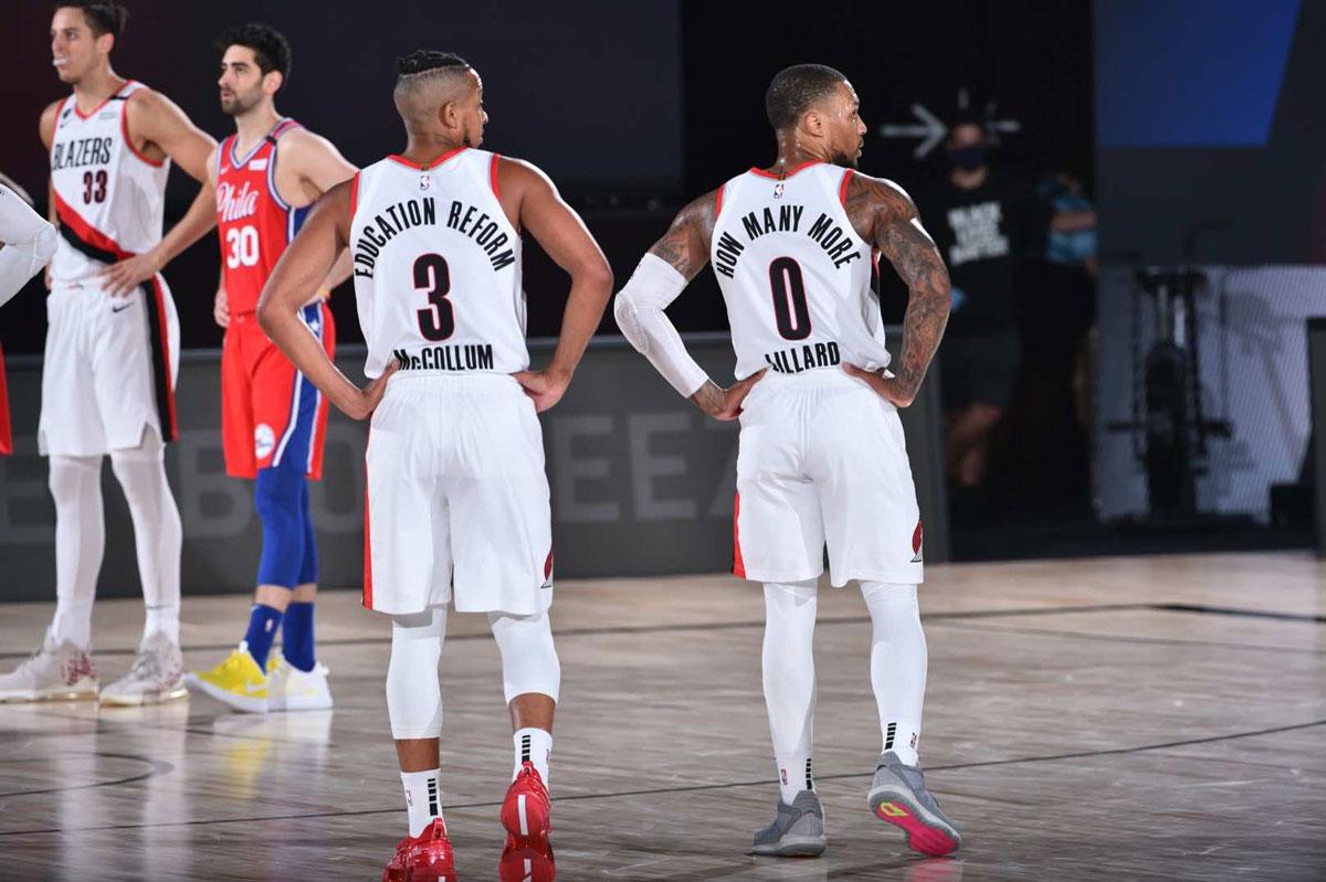 cj mccollum and damian lillard 2020 nba statement jerseys