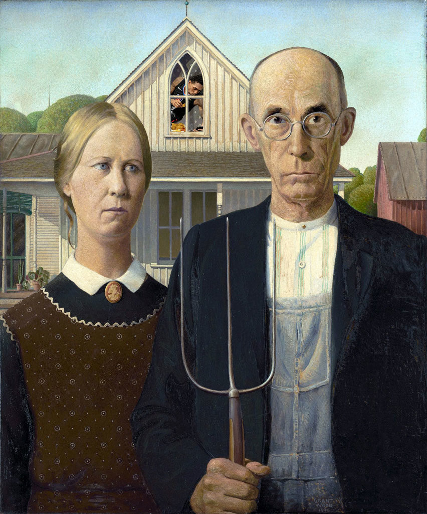 Clippers Nacho Eating Lou Williams Collection Grant Wood American Gothic