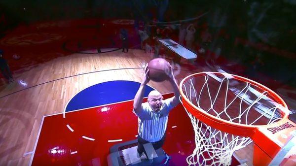 Clippers Owner Steve Ballmer Dunks Off The Trampoline