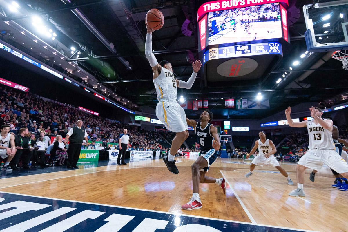 dalhousie tigers xavier ochu skies for rebound against stfx x men 2020 aus mens basketball championships