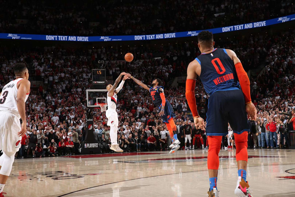 Damian Lillard 37 Footer Over Paul George