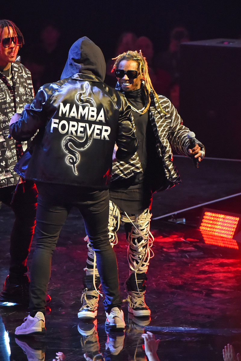 damian lillard mamba forever jacket and lil wayne performing 2020 nba all star game in chicago