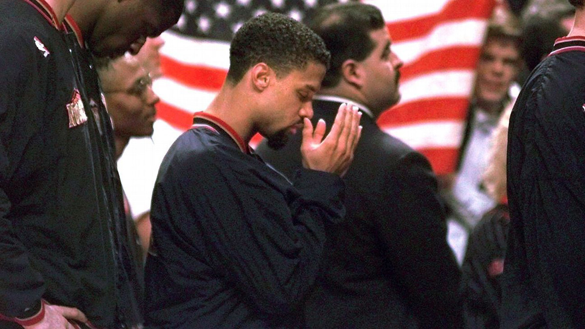 Denver Nuggets Guard Mahmoud Abdul Rauf Covering Eyes During American National Anthem