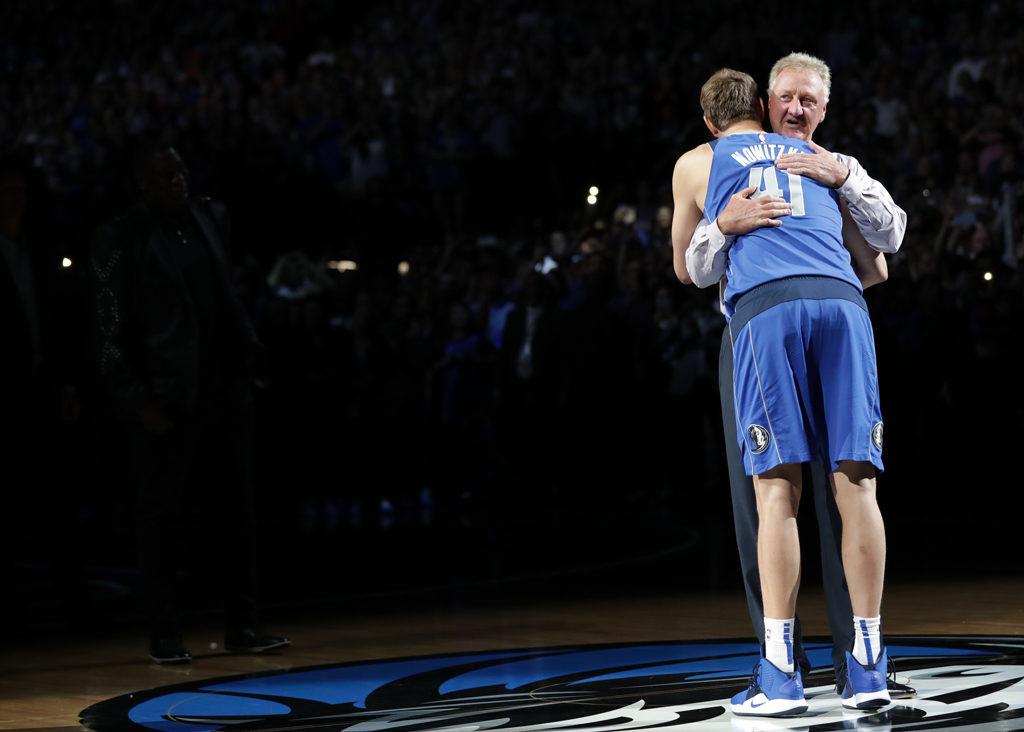 Dirk Nowitzki And Larry Bird Hug Last Game
