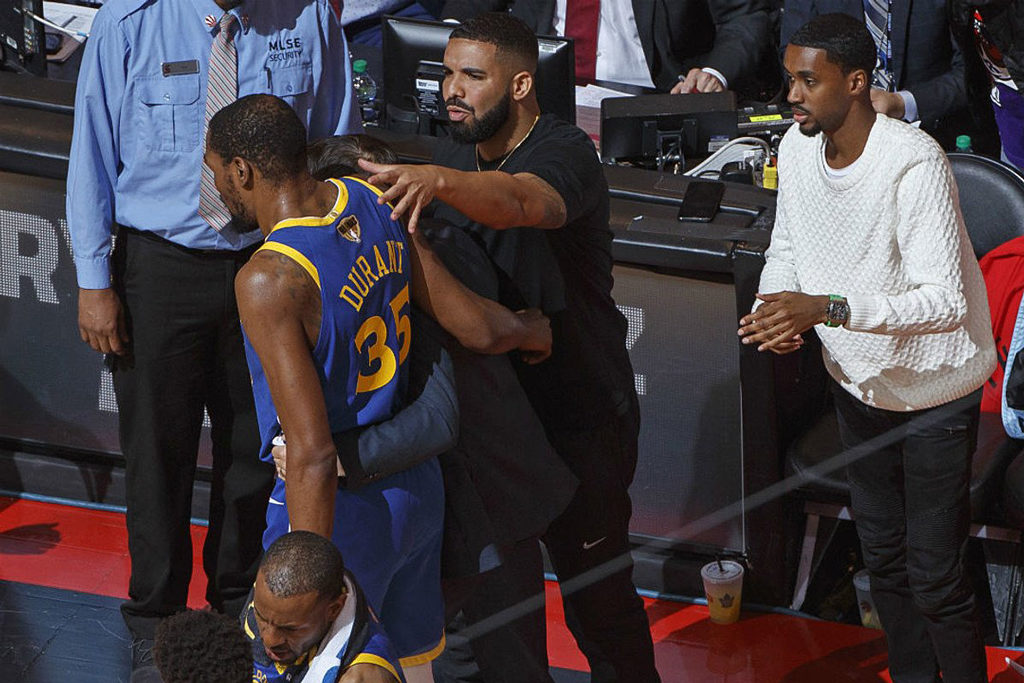 Drake Consoles Kevin Durant As He Walks Off Injured Nba Finals