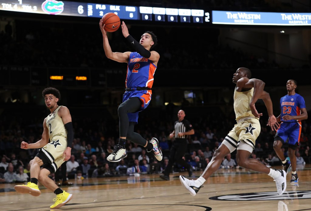 Florida Gators Guard Andrew Nembhard goes to the basket for a layup against Vanderbilt
