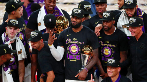 Four Time NBA Champion Lebron James Holding 2020 Nba Finals Mvp Trophy
