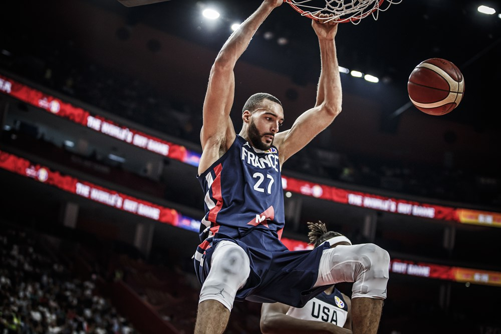 France Rudy Gobert Slams Home Two Hander Against Usa 2019 Fiba World Cup Of Basketball In China