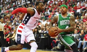 Isaiah Thomas Drives John Wall Pursues Road