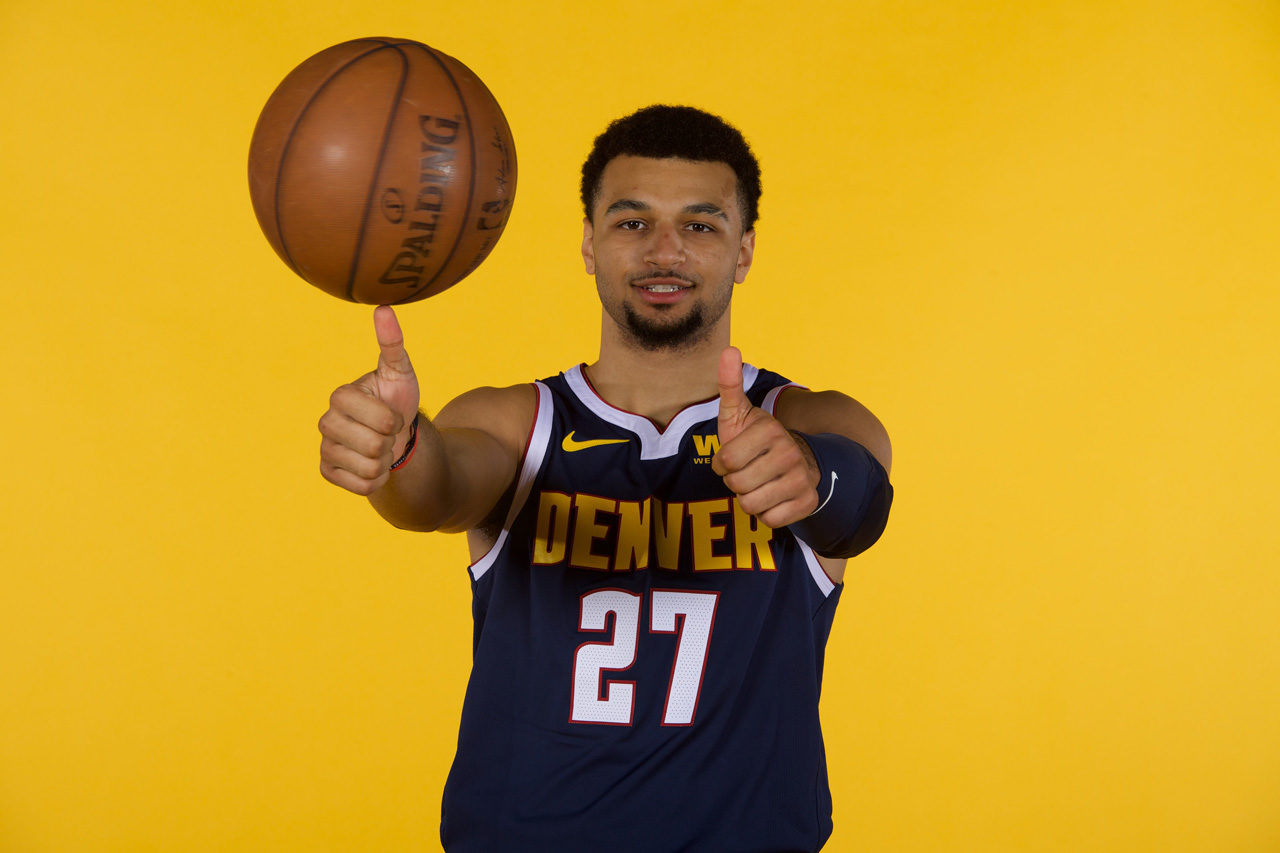 Jamal Murray Denver Nuggets Spinning Ball 2019 NBA Media Day