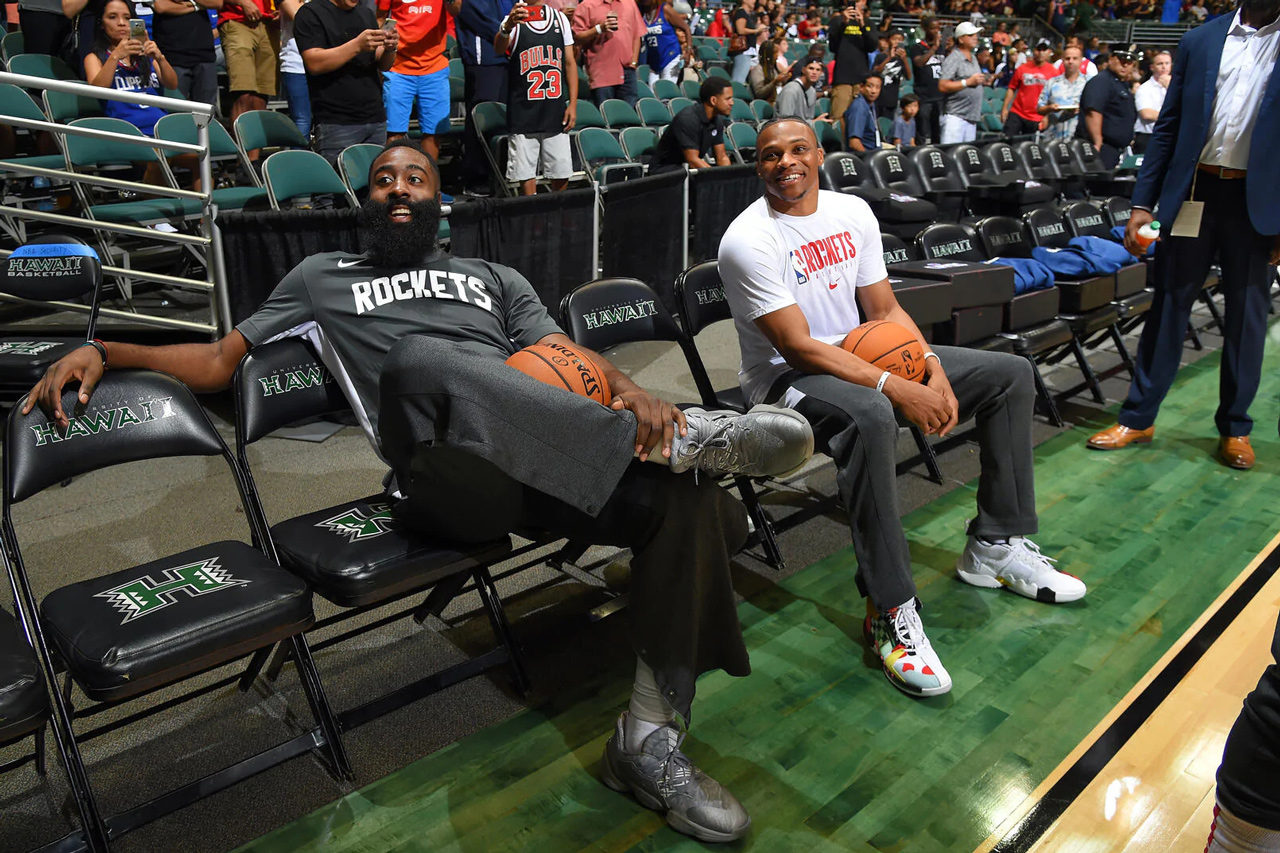 James Harden and Russell Westbrook Houston Rockets sitting on the bench in Hawaii
