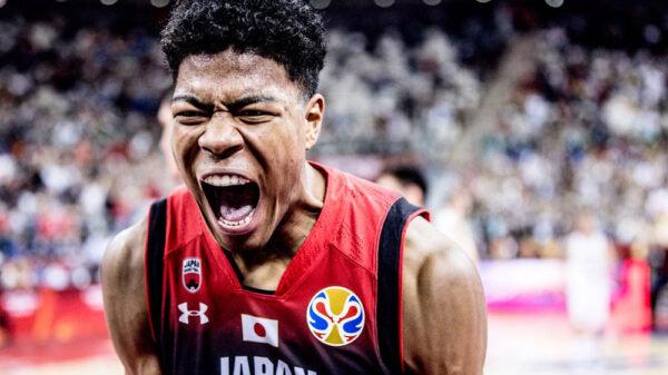 Japan's Rui Hachimura screaming at 2019 FIBA World Cup In China