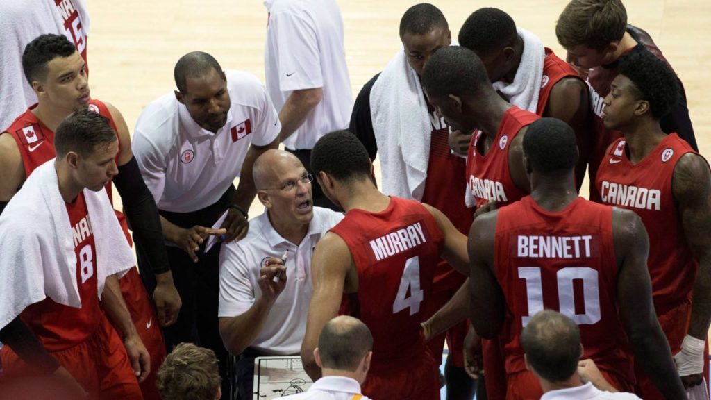 Jay Triano Canada Basketball Head Coach In The Team Huddle
