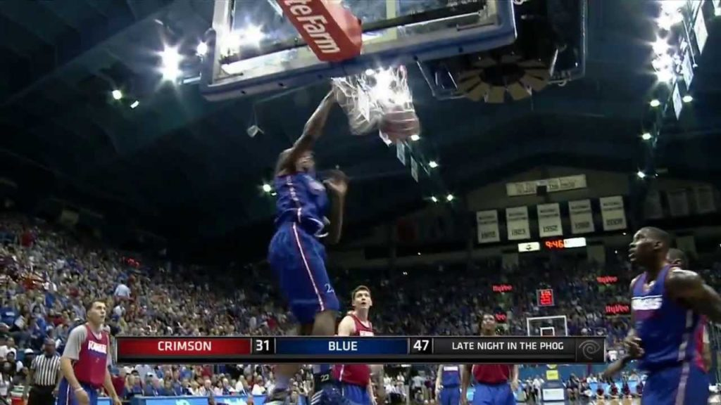 Kansas Freshman Andrew Wiggins Hurts The Rim At Annual Late Night In The Phog