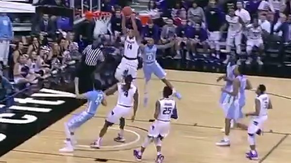 Kansas St. Wildcats Justin Edwards two-hand throw-down vs North Carolina
