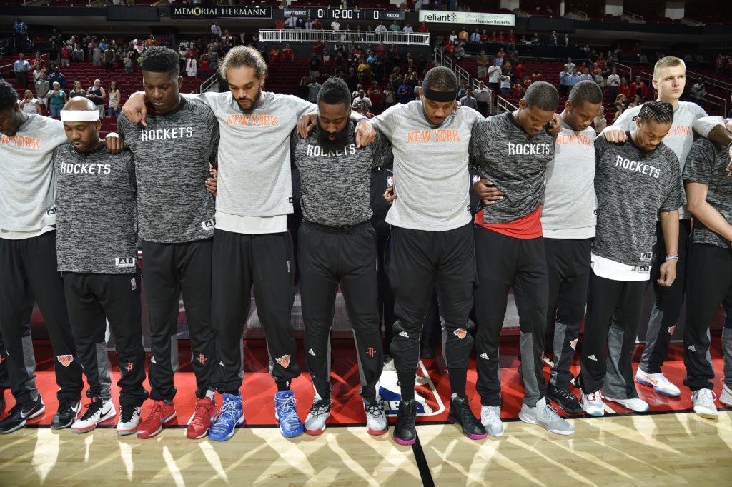 Knicks, Rockets Make A Stand Together During National Anthem