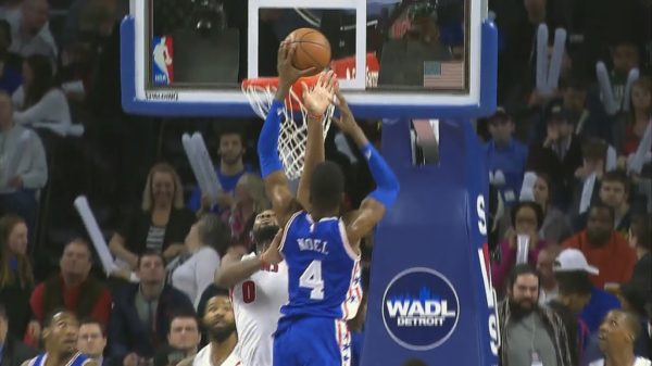 Nerlens Noel delivers nasty facial all-over Andre Drummond