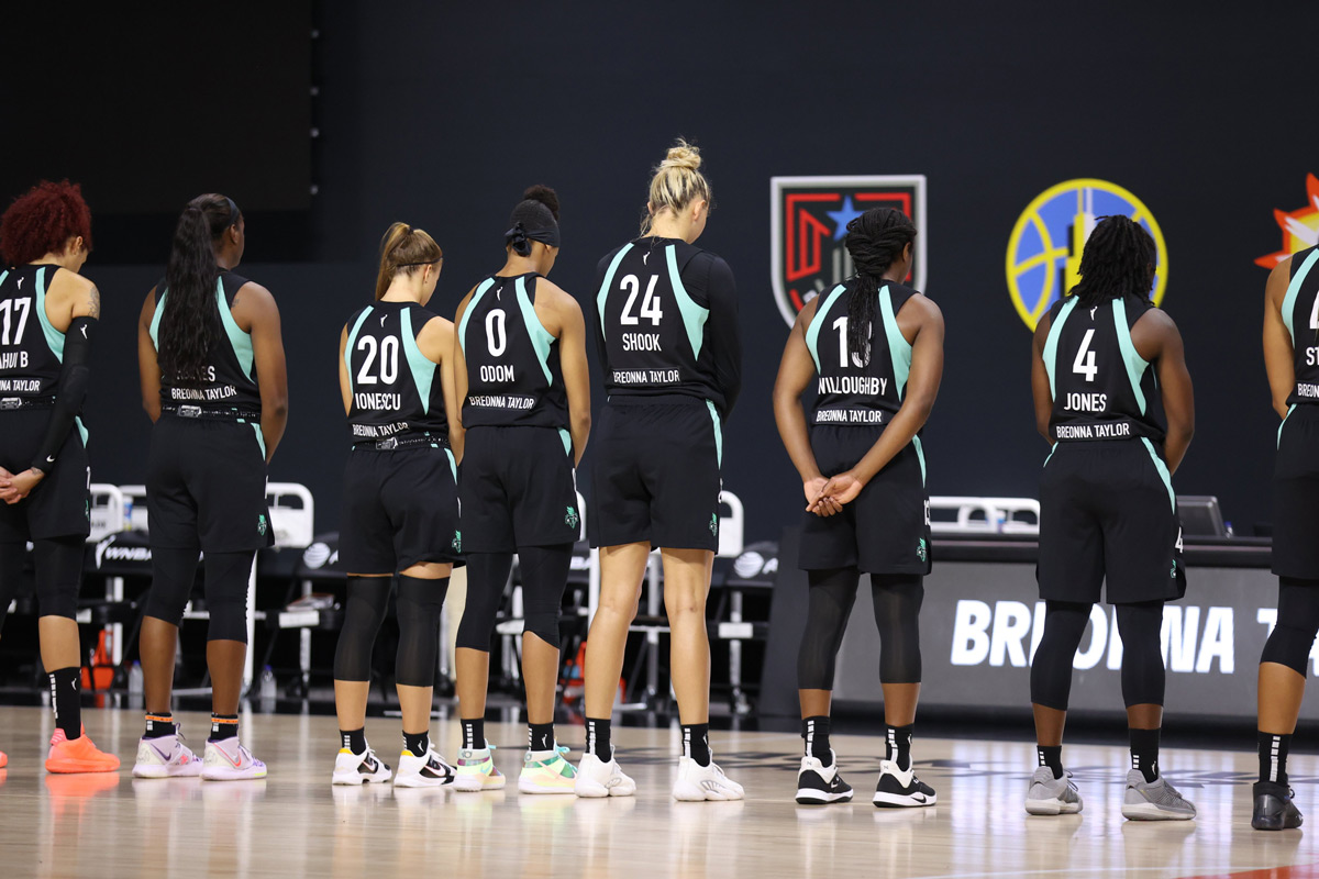 New York Liberty Wnba Players Wear Breonna Taylor On The Back Of Jerseys