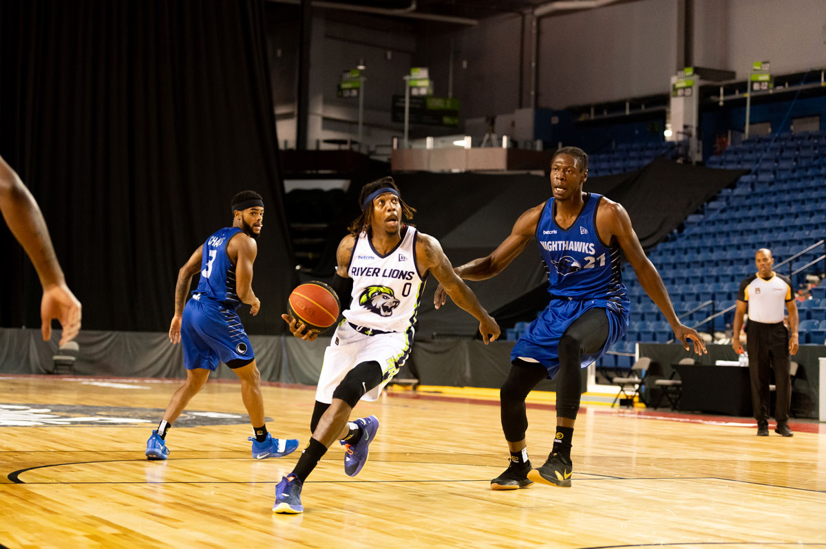 Niagara River Lions Daniel Mullings Attacks The Basket Against Guelph Nighthawks
