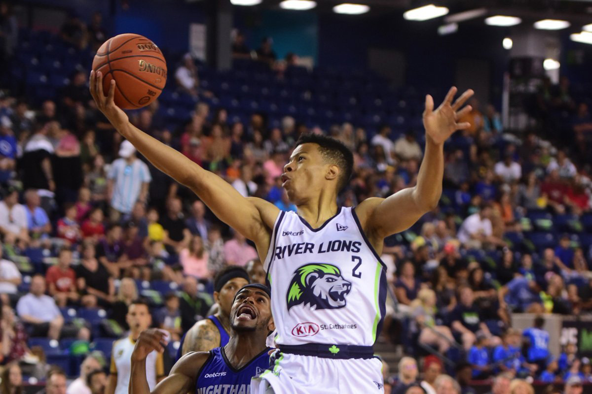 Niagara River Lions Guard Trae Bell Haynes Goes In For A Layup Against Guelph Nighthawks