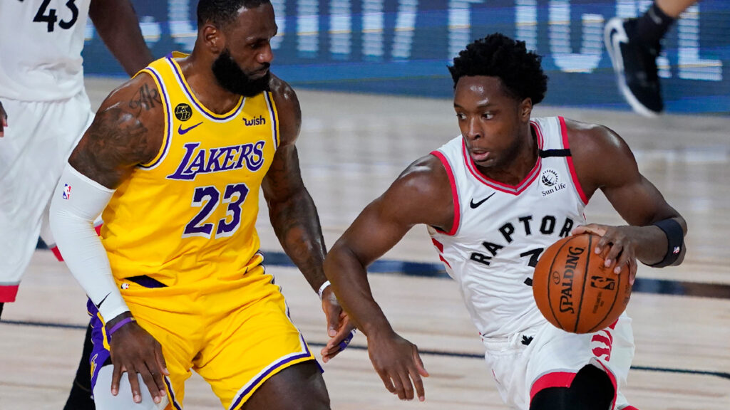 OG Anunoby drives past LeBron James As Raptors Kick Off NBA Restart With Statement Win Over Lebron James and the Lakers