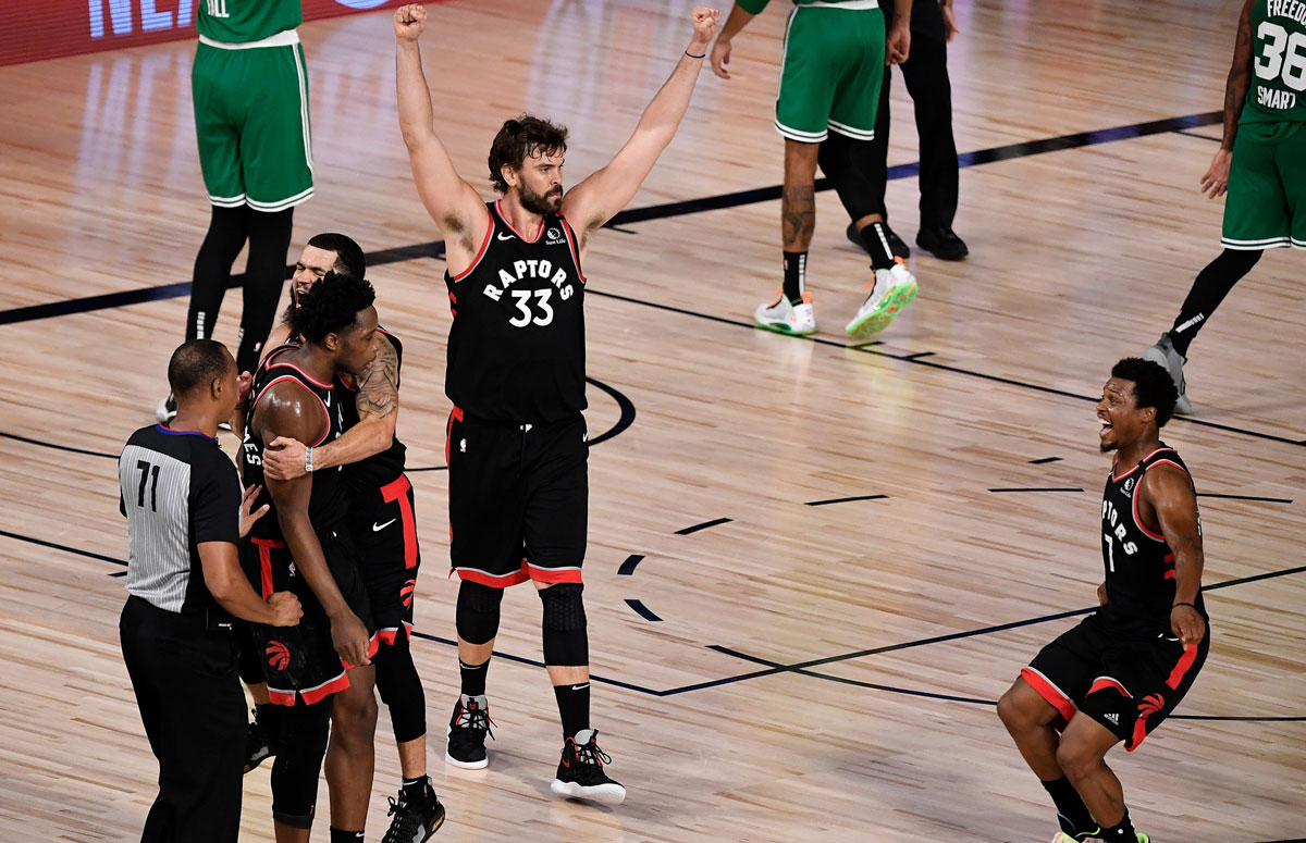 Kyle Lowry, Fred VanVleet and Marc Gasol celebrate after OG Anunoby stunning game winner Keeps Toronto Raptors NBA Championship Defence Alive