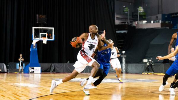 Ottawa Blackjacks Johnny Berhanemeskel Attacks The Basket Against Guelph Nighthawks During 2020 CEBL Summer Series