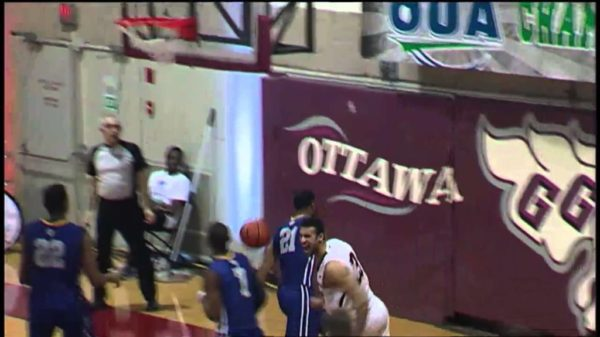 Philip Scrubb throws down nasty one-hander on Ryerson's Adika Peter-McNeilly