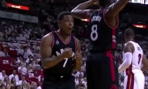Raptors Bismack Biyombo rudely introduces himself to Amare Stoudemire