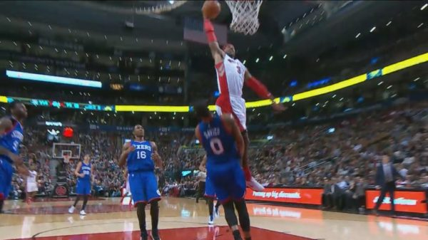 Raptors James Johnson drops the hammer on 76ers Brandon Davies